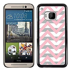 Exotic-Star ( Pink Beige White Lines Pattern ) Fundas Cover Cubre Hard Case Cover para HTC One M9