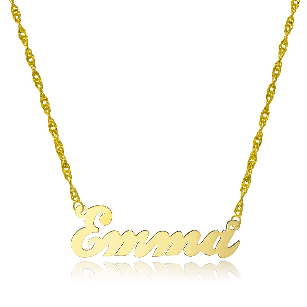10k Yellow Gold Personalized Name Necklace - Style 4 (16 Inches, Singapore Chain) by Pyramid Jewelry