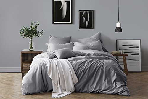 Swift Home 100% Cotton Washed Yarn Dyed Chambray Duvet Cover & Sham Bedding Set, Ultra-Soft Luxury & Natural Wrinkled Look - King/California King, Ash Grey