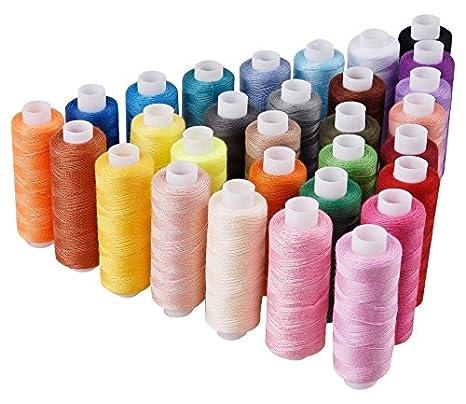 Candora Bobina de hilo de coser Surtido 30 color 250 yardas cada juego de poliéster hilo de coser todos propósito poliéster hilo para mano y máquina de ...
