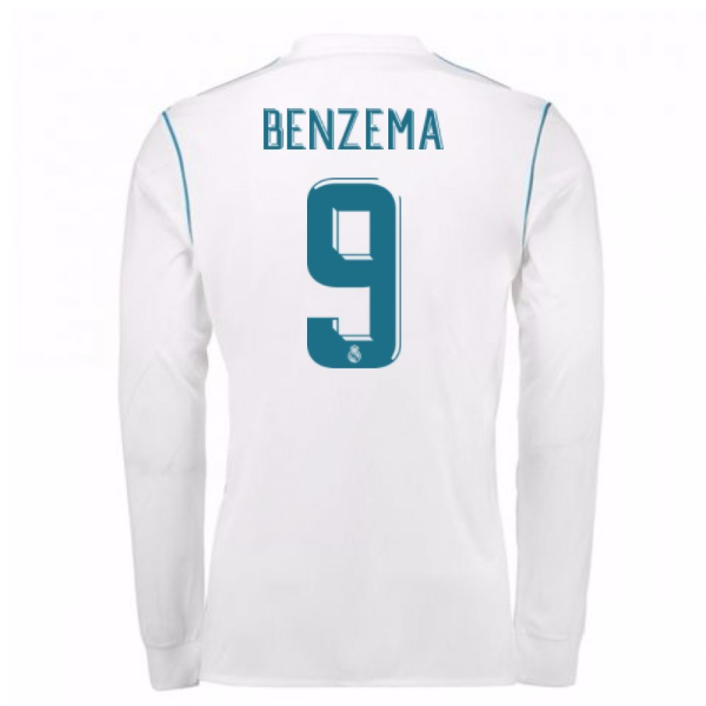 2017-18 Real Madrid Long Sleeve Home Shirt Kids (Benzema 9) B077YP579TWhite Small Boys 26-28\