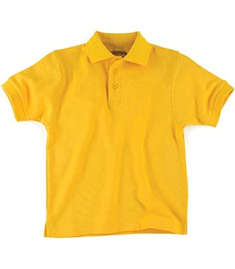 d00a2bc19 Image Unavailable. Image not available for. Color: Gold Short Sleeve Pique  Toddler Unisex Polo Universal School Uniforms ...