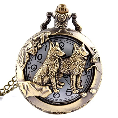 Bronze Animals Hollow Quartz Pocket Watch Necklace Pendant Women Men's Gifts from joyliveCY