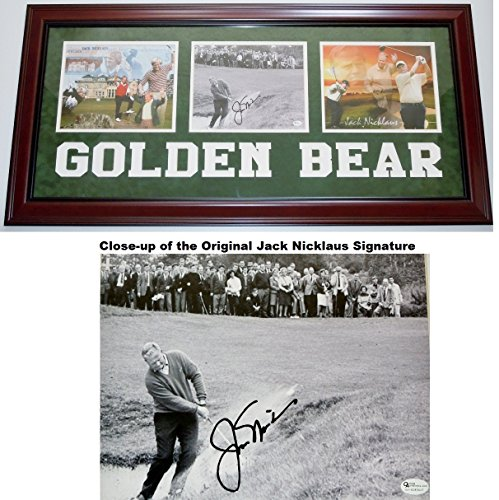 Jack Nicklaus Signed - Autographed B+W Vintage Golf 8x10 inch Photo with Deluxe GOLDEN BEAR Custom Frame - Online Authenitcs Authenticity ()