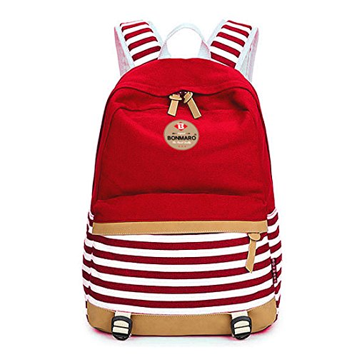 Bonmaro B Stripes 25L Red Water Repellant Casual Canvas Backpack