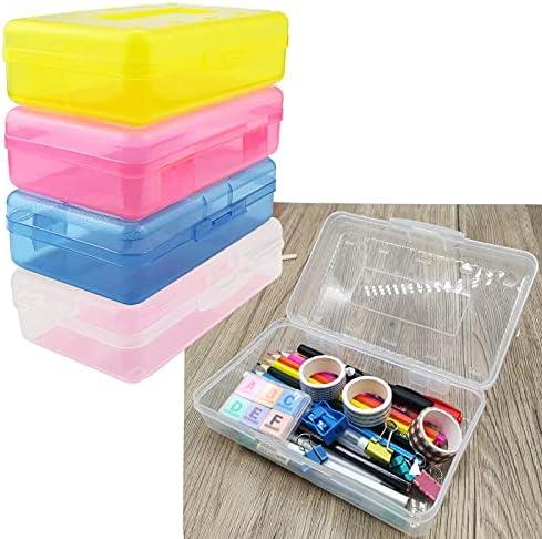 Nuozme Plastic Translucent Pencil Box for Kids,...