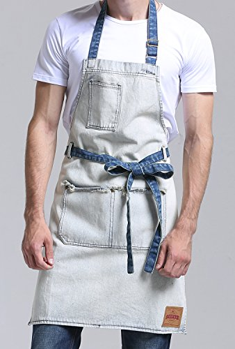 VANTOO Denim Artist Apron with 3 Pockets-Jean Painting Salon Apron-Adjustable Neck Strap-Extra Long Ties for Friends Families,White by VANTOO (Image #1)