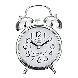 Jeteven Vintage Silent Alarm Clock Loud Twin Bell Mute Alarm Clock Quartz Analog Retro Bedside and Desk Clock with Nightlight ,Silver