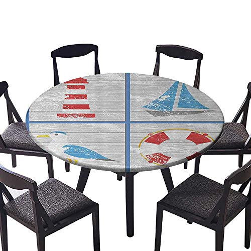 Youdeem-tablecloth Circular Table Cover mNautical Inspired Seagull Lighthouse Lifebuoy and Sailboat Wooden Board Backgr for Family Dinners or Gatherings 63