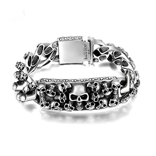 - MetJakt Men's Punk Skull Bracelet & Hand-embossed Skeleton Solid 925 Sterling Silver Bracelet for Male Biker Vintage Thai Silver Jewelry 8.5 inches