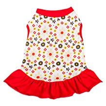 "Blueberry Pet Red & Sunshine Yellow Floral Cotton Dog Dress, Back Length 16"", Pack of 1 Clothes for Dogs"