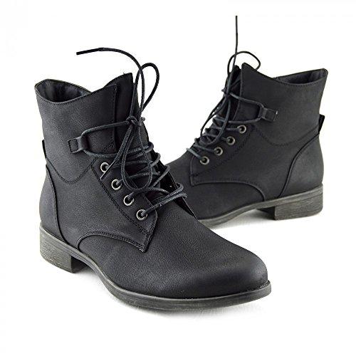 Kick Footwear Damen Womens Kampf Armee Militär Worker Lace Up Biker Boots Schwarz