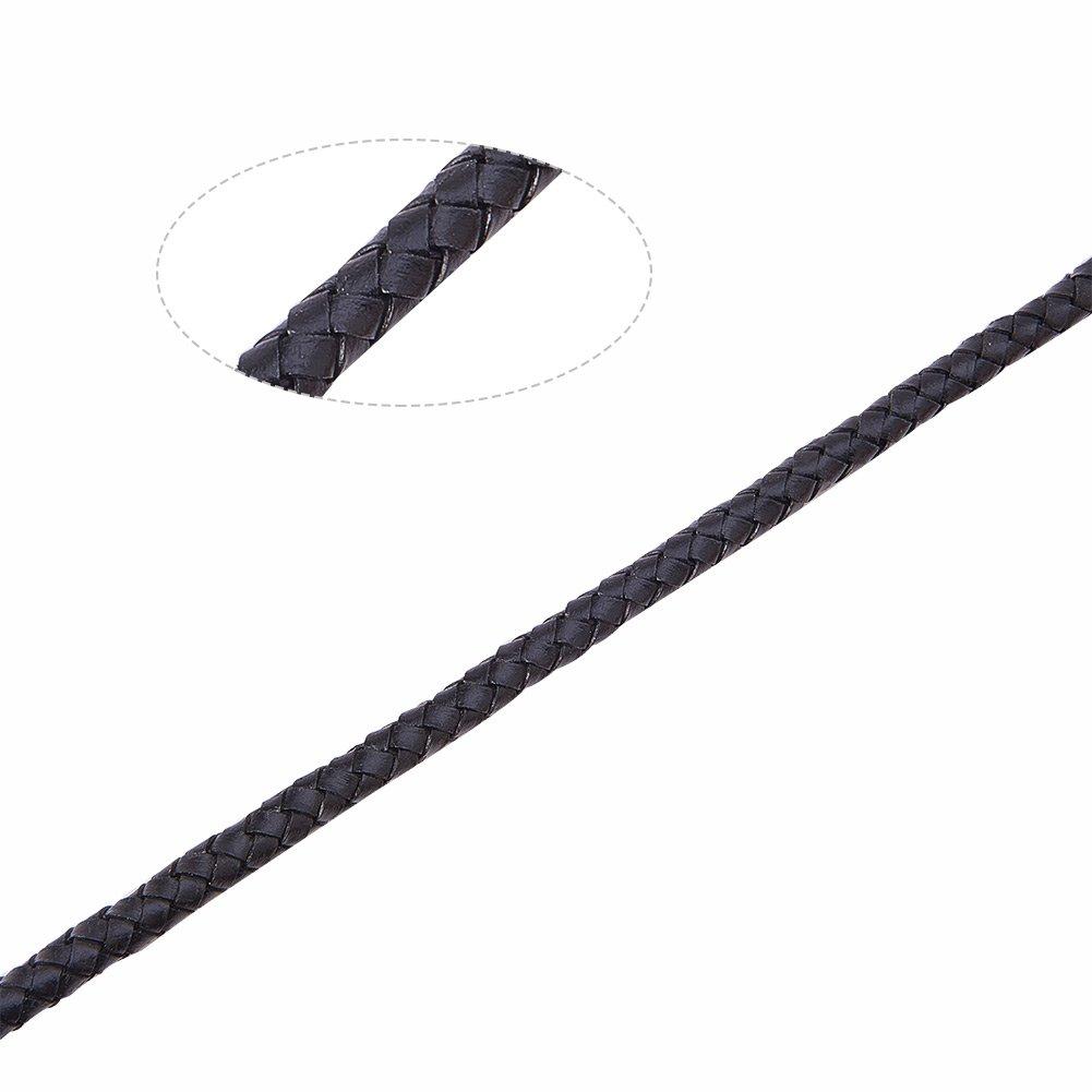 6mm Black 2m//bag PandaHall Elite Braided Genuine Leather Cord for Bracelet Necklace Making
