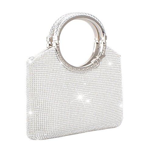 Clutch Evening Bag, Fit & Wit Giltter Beaded Flap Clutch Evening Handbag Purse (Style (Bead Handbag Purse)
