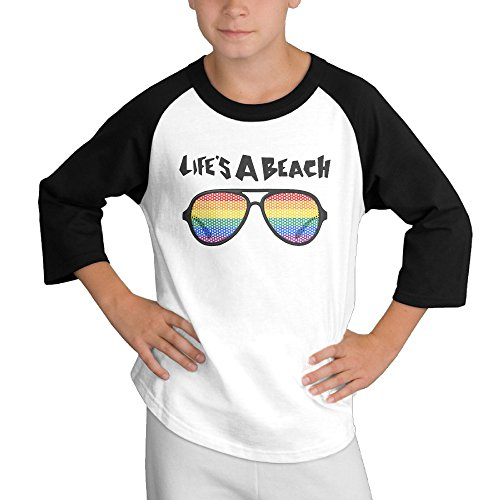 Price comparison product image MULTY9 Lifes A Beach Glasses Child Youth 3/4 Raglan T-Shirt Top Medium