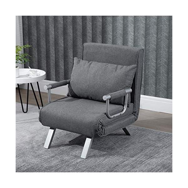 Homcom Fauteuil chauffeuse canapé-lit Convertible 1 Place déhoussable Grand Confort Coussin Pieds accoudoirs métal suède Gris