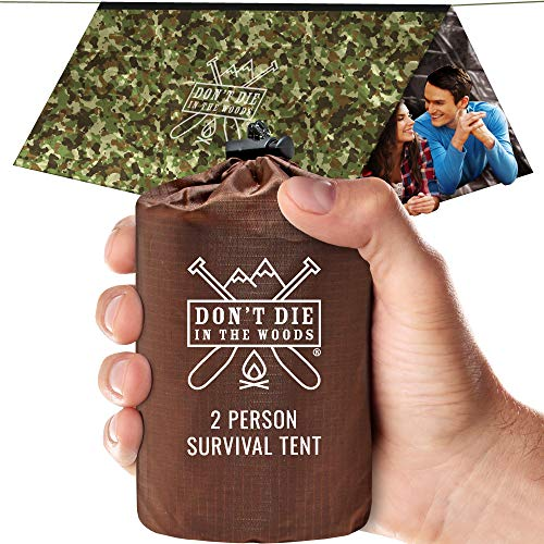 World's Toughest Ultralight Survival Tent • 2 Person Mylar Emergency Shelter Tube Tent + Paracord • Year-Round All Weather Protection For Hiking, Camping, & Outdoor Survival Kits