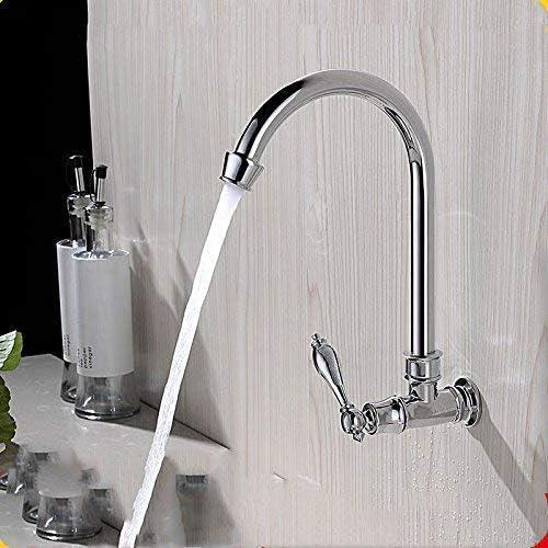 YASE-king バスルームのシンクミキサータップ真鍮冷たい水壁はバスルームのシンクのためのスイベルタップをマウント