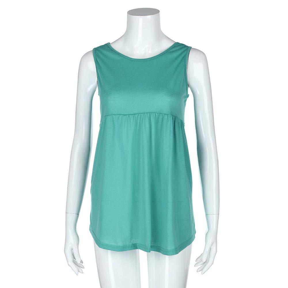 Women Fashion Plus Size Sleeveless Vest Summer Top Scoop Neck Cotton Cami Shirt Polo Blouse Green by iLUGU (Image #2)