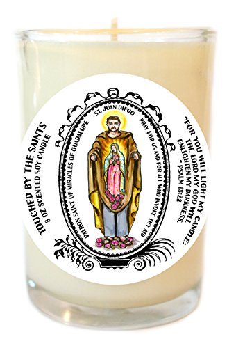 St Juan Diego for Miracles of Guadalupe 8 Oz Scented Soy Glass Prayer Candle by Touched By The Saints