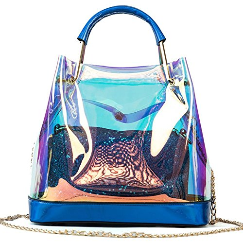 Transparent Messenger Chain Gelatin Silver Blue Ppge Women Shoulder Bags Handle Bags Bag Wild FaZvqwg