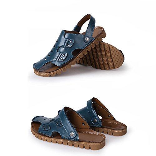 in Blue da per Sandali adatti antiscivolo traspiranti sandali tempo libero uomo il e coperto la all'aperto al regolabili per pelle sandali spiaggia xxEOrn