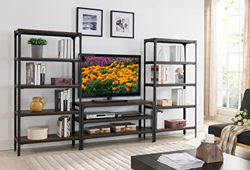 Kings Brand Antique Walnut TV Stand Entertainment Center With 2 Storage Bookcases Display ()