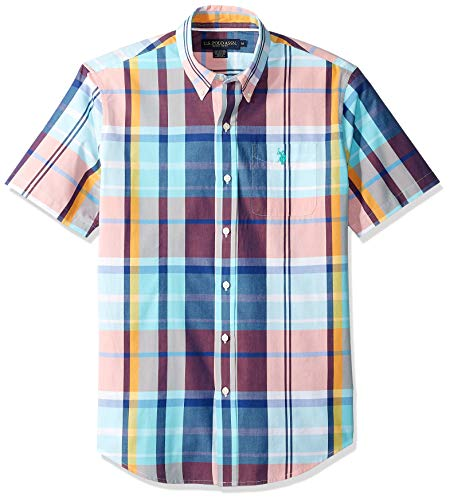 (U.S. Polo Assn. Men's Short Sleeve Plaid Woven Shirt, Painters Aqua, S)