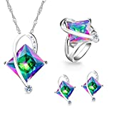 Uloveido Big Square Multi-Color Mystic Created Topaz Choker Necklace Stud Earrings Halo Rings Jewellery Set, Silver Color Wedding Decorations Bridal Jewellery (Multi, Size 7) T295