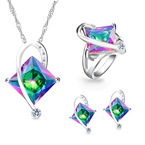 Uloveido Charm Rainbow Created Topaz Mystic Big Square Crystal Necklace Matching Stud Earrings Rings White Gold Plated Wedding Jewelery Set (Multicolor, Size 5) - Multi Crystal Topaz