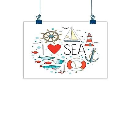 Amazon Com Sunset Glow Wall Painting Prints Nautical I Love Sea
