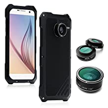 Samsung Galaxy S7 Camera Lens Kit, OXOQO 3 in 1 198° Fisheye Lens + 15X Macro Lens + Wide Angle Lens with Dustproof Shockproof Aluminum Case, Separate Screen Protector Included, 5.1 Inches(Black)