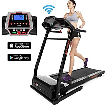ANCHEER Treadmill, APP Control Electric Folding Treadmills Black