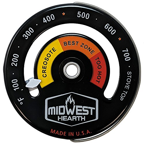 Midwest Hearth Wood Stove Thermometer - Magnetic Stove Top Meter