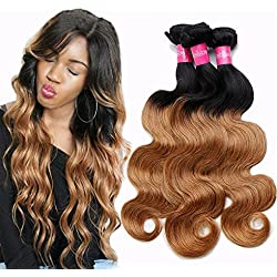 3 Bundles of Brazilian Ombre Human Hair Bundles Body Wave 12 14 16inch 2 Tone Ombre Color Virgin Hair Body Wave Weave Extensions 100G/Bundle Total 300G T1B/27