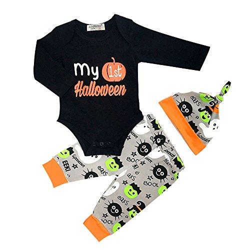 Mellons Baby Boys Girls 3pcs Set Halloween Party Outfit Set Pumpkin Romper Bodysuit Pumpkin Witch Pants Hat Outfits