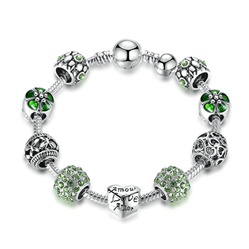 Silver Plated Amour Love Openwork Heart Green Clear CZ Charm Bracelets & Bangles 21CM