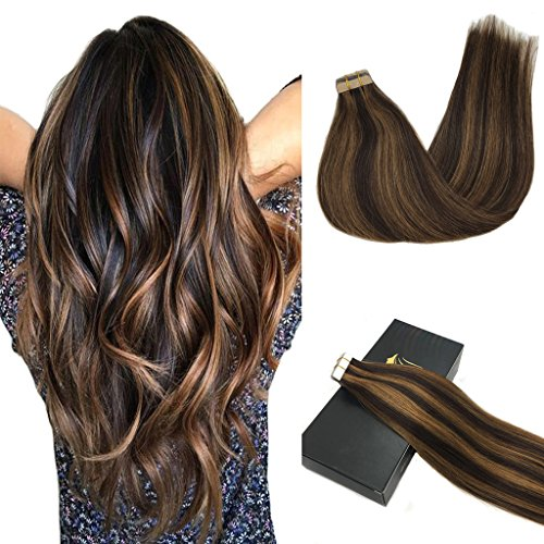Googoo Human Hair Extensions Tape in Ombre Dark Brown Highlighted Light Brown Natural Hair Extensions Tape in Straight 20pcs 50g 20inch