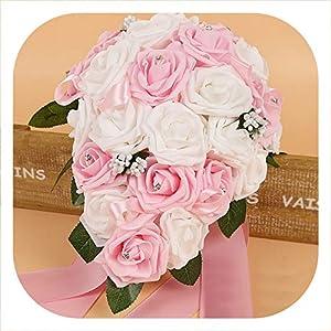 meiguiyuan Crystal Bridesmaid Bridal Bouquets Rose Artificial Foam Flower Handmade Water Drop Shaped Wedding Bouquet 2019 New 76