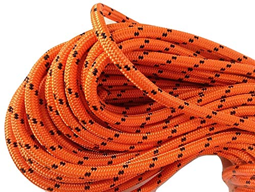 "1/2"" X 150' Double Braided Polyester Arborist Rigging Rope, Orange and Black"