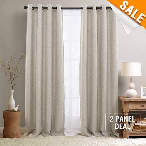 Room Darkening Curtains for Bedroom Beige Linen Look Window Treatment Moderate Blackout Curtain Panels for Living Room 95 Beige