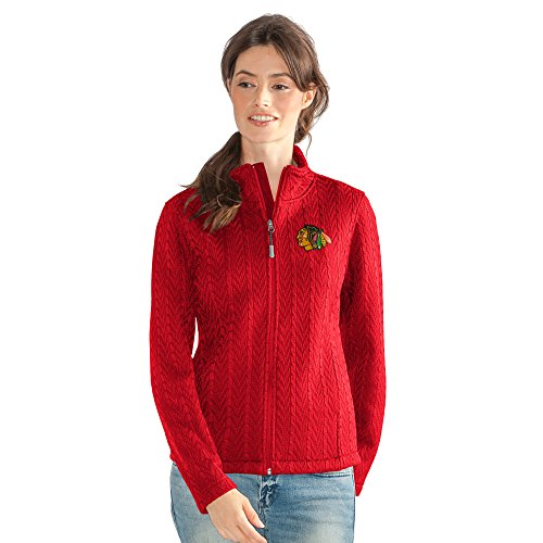 GIII For Her NHL Chicago Blackhawks Women's Crossover Full Zip Jacket, XX-Large, Red