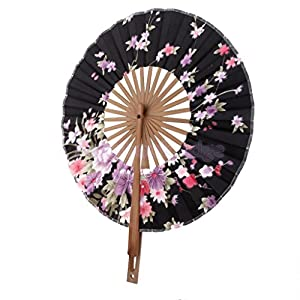 UNAKIM--Chinese Japanese Folding Sakura Silk Hand Bamboo Pocket Fan Round Circle