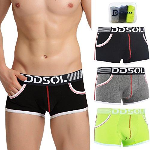 Low Waist Trunk (Fedpop Men's Stretch 3 Packs Trunks Underwear Low Rise Cotton Underpant)