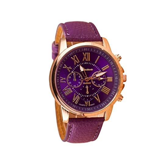 Reloj de Cuero Casual para Mujer con Reloj Romano de Doble ...