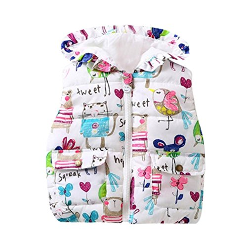 Fineser TM Baby Boys Girls Animal Hooded Sleeveless Puffer Vest Jacket Winter Windproof Outwear Coat (White, 12M)