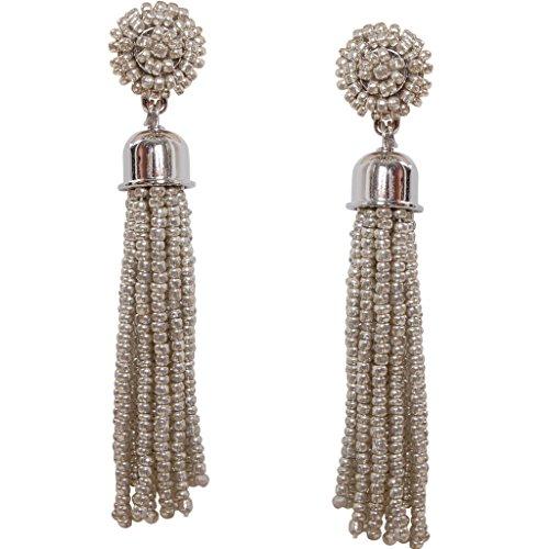 Humble Chic Women's Lightweight Soiree Tassel Earrings - Silver-Tone Beaded Fringe Drop Statement (Tone Beaded Disc)