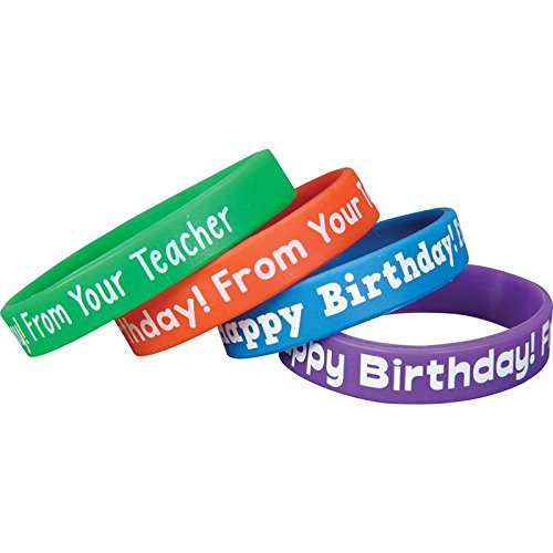Really Good Stuff Happy Birthday from Your Teacher Silicone Bracelets - Set of 24 -