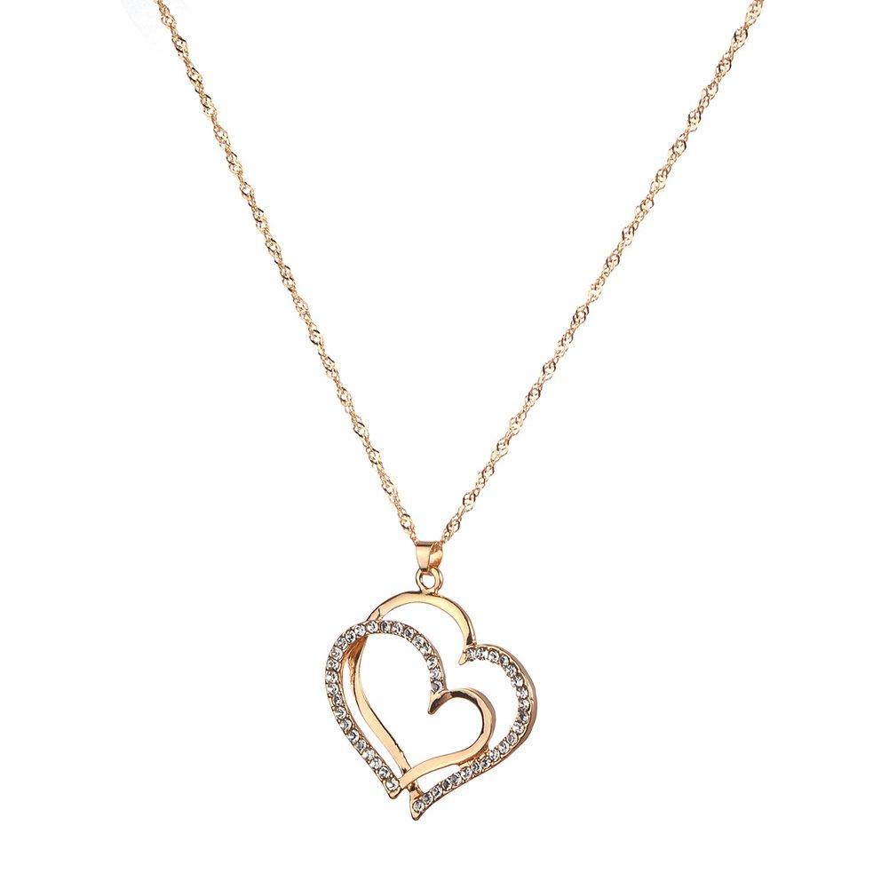 Lumanuby Doppel hohles Herz Anh/änger Halskette Elegante Krystall Lovely Heart Kette mit Ohrringe Geschenk f/ür Schwester//Mutter//Freundin Gold Herz