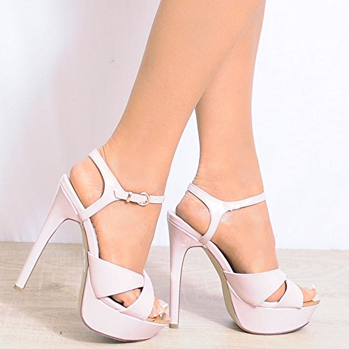 Closet Cheville AUS8 Bout Hauts Shoe Lanières USA9 Sangle Nues Stiletto UK7 Brevet EURO40 Sandales Ouvert Talons Dames BdWF0wfq